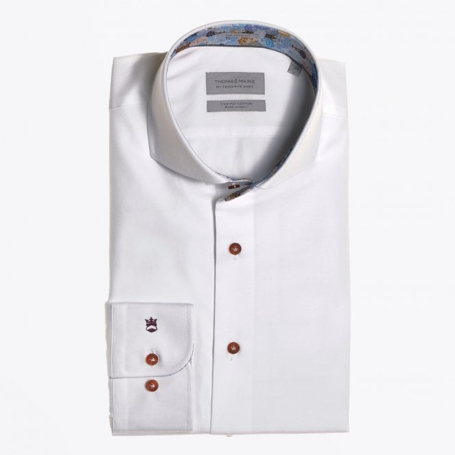 Thomas Maine - Multi-Colour Floral Insert Shirt - White