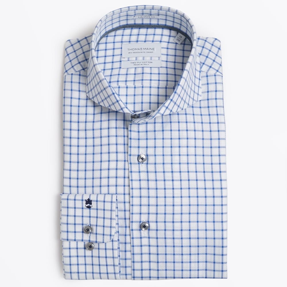 Open Check Shirt White/Navy | Mens Designer Shirts | Thomas Maine