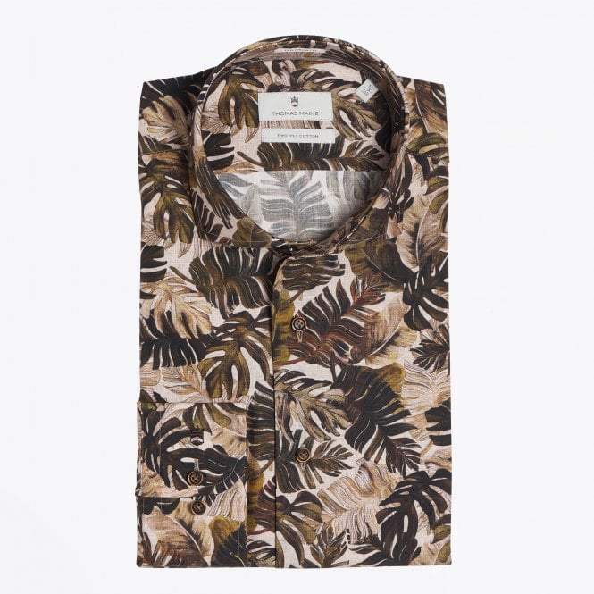 Thomas Maine - Palm Leaf Print Shirt - Green