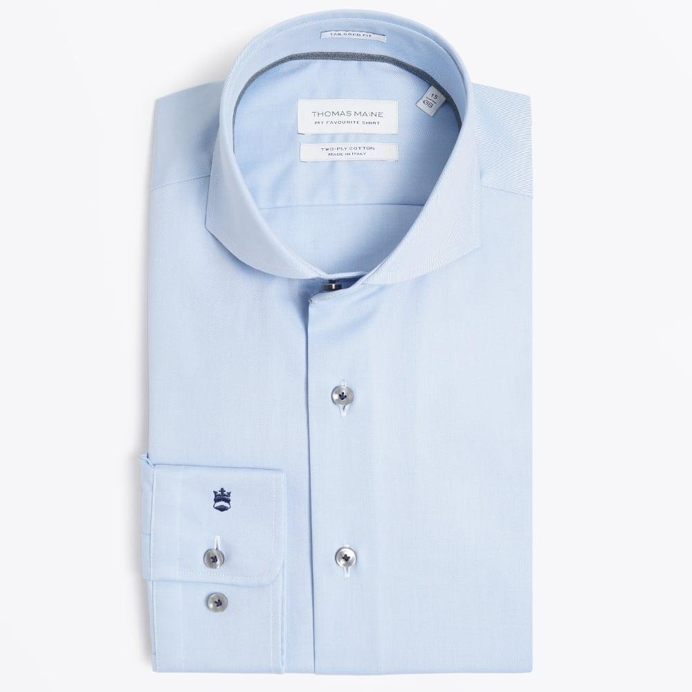 4ff3fc8f2c5f2 Plain Cutaway Collar Shirt - Blue
