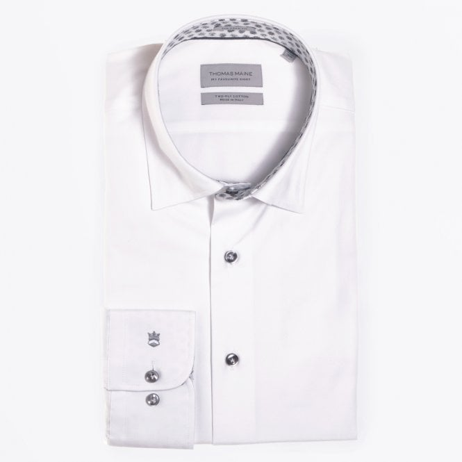 Thomas Maine - Small Floral Insert White Shirt