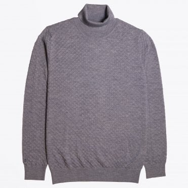 - Textured Roll-neck Knit - Grey
