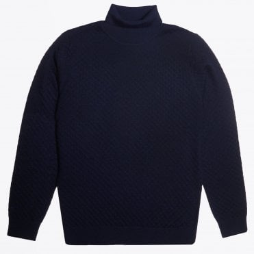 - Textured Roll-neck Knit - Navy