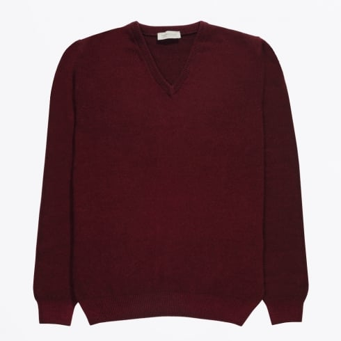 Thomas Maine - V-Neck Wool Jumper - Burgundy