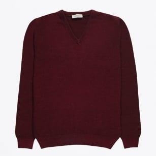   V-Neck Wool Jumper - Burgundy