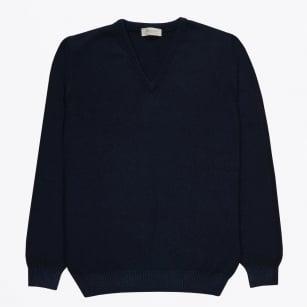   V-neck Wool Jumper - Navy