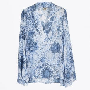 | Grace Porcelain Abstract Print Top - Blue