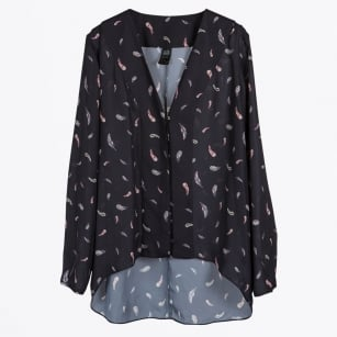 | Legend Feather Print Blouse - Black