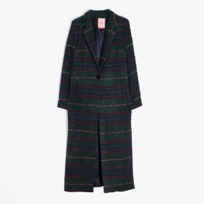 - Alexandra Long Check Coat - Green