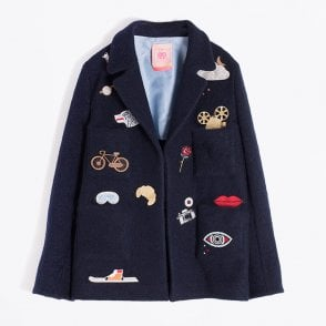 - Amber Embroidered Blazer - Navy