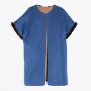- Ania Mink Trim Jacket - Blue