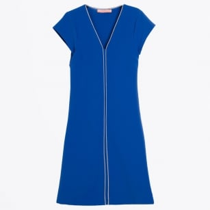 - Astrid V-Neck Crep Dress - Blue