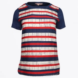 | Capri Tweed Front Jersey Back Tee - Marmi Stripe