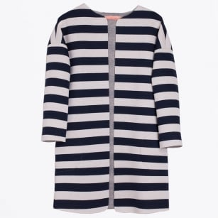 - Cleo Paris Jaquard Stripe Jacket - Navy/White