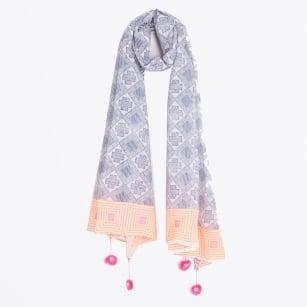 - Embroidered Patchwork Print Scarf With Tassels