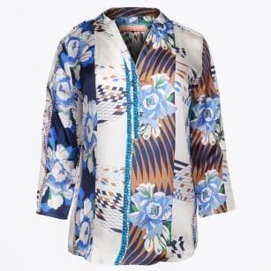 | Emily - Blue Floral V Neck Shirt - Lora Silk