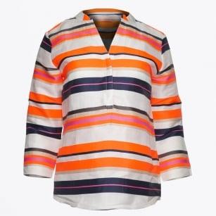 | Emily - Neon V Neck Shirt - Fluor Stripe