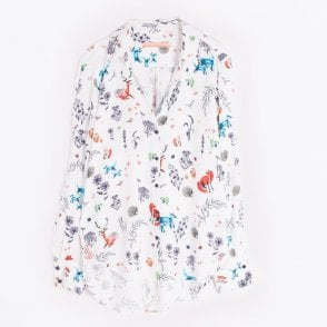 - Gaby Woodland Print Top - White