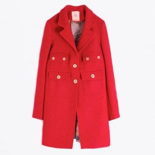 - Lucretia - Four Pocket Wool Coat - Red