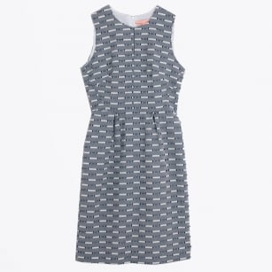 - Melissa Dobby Jaquard Dress - Navy