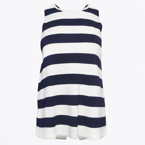Vilagallo - Milena - Cross Back Vest Knit - Stripes Navy