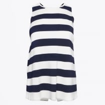 - Milena - Cross Back Vest Knit - Stripes Navy