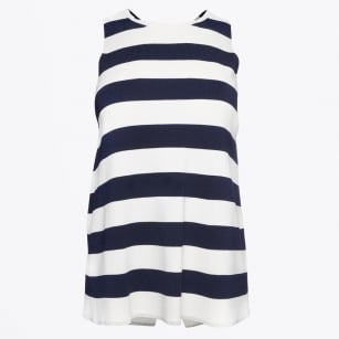 | Milena - Cross Back Vest Knit - Stripes Navy