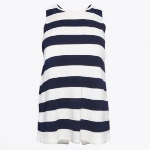 | Milena - Cross Back Vest Knit - Stripes Navy