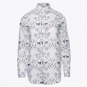 - Natasha - Monkey & Leaf Print White Shirt