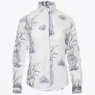 - Pineapple Print Shirt - White/Blue