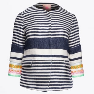 | Sandra - Neon Stripe Jacket - Anchor Stripe
