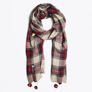 - Scottish Check Scarf - Ecru