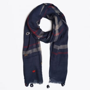 - Scottish Check Scarf - Navy