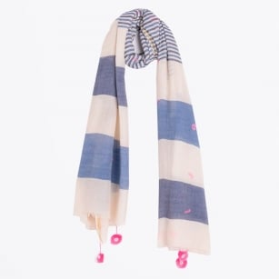 - Striped Scarf With Gold Trim - Navy/Cream