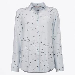 | Bird Print Shirt - Light Blue