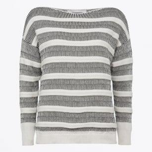 | Boat neck Sweater - White