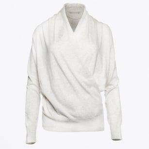 | Drape Front Sweater - Light Grey