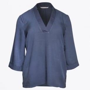 | V Neck Shirt With Sid Stripes - Blue
