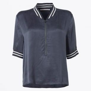 | Zip Front Top - Blue/Grey